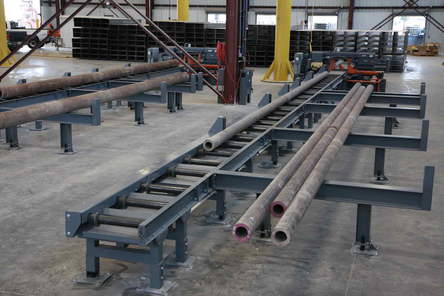 Two Roller Conveyor Systems for Round Steel Tube