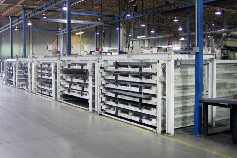 Battery of Custom Sheet Racks for Sheet Metal and Plate