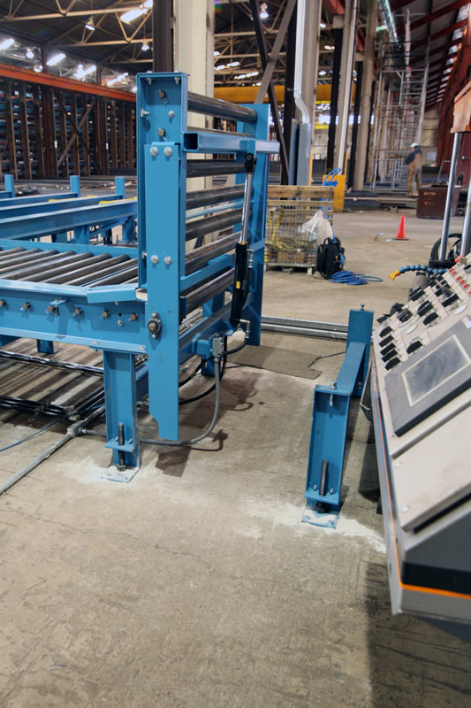 Roller Conveyor Pivot Section allows saw operators to pass from one side of the conveyor to the other