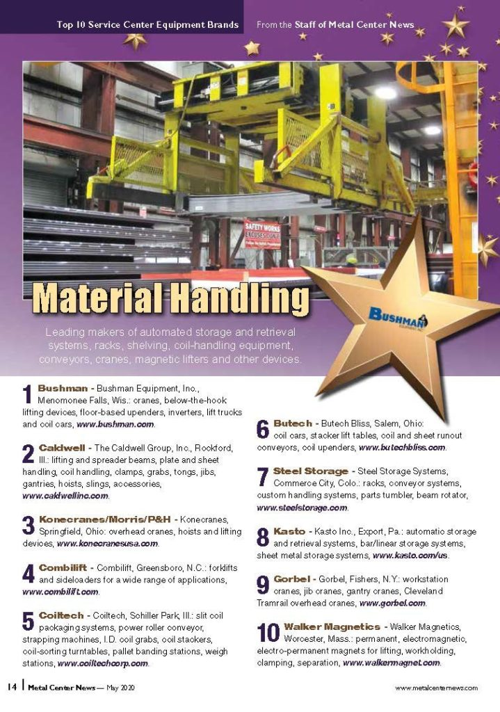 metal center news awards Steel Storage Systems the 7th spot on the Top Material Handling Companies in 2020