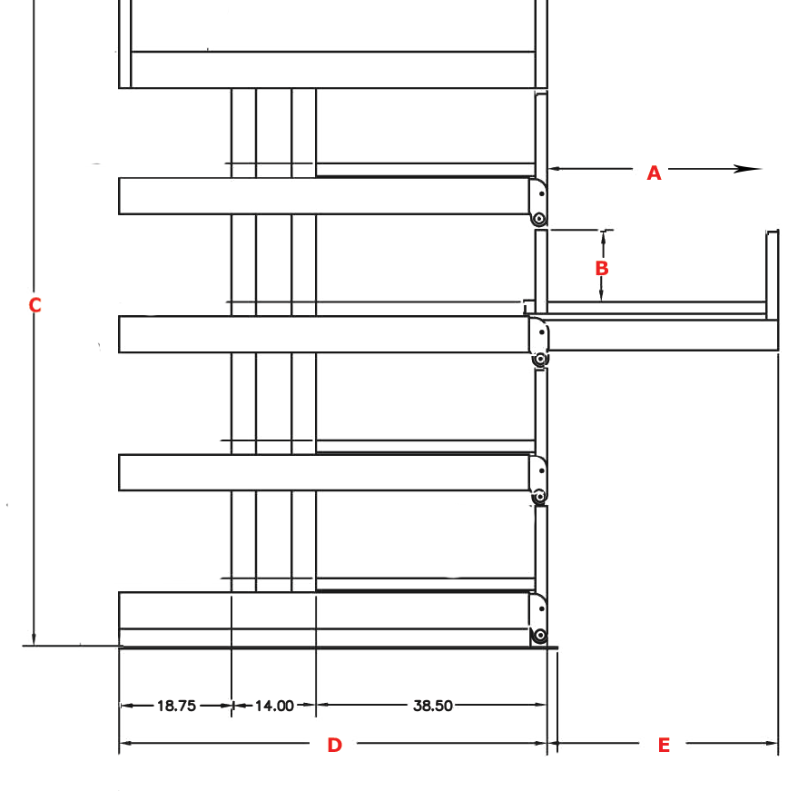GRID Drawing of a 4T-36X12R ONE-SIDED cantilever SpaceSaver Rack