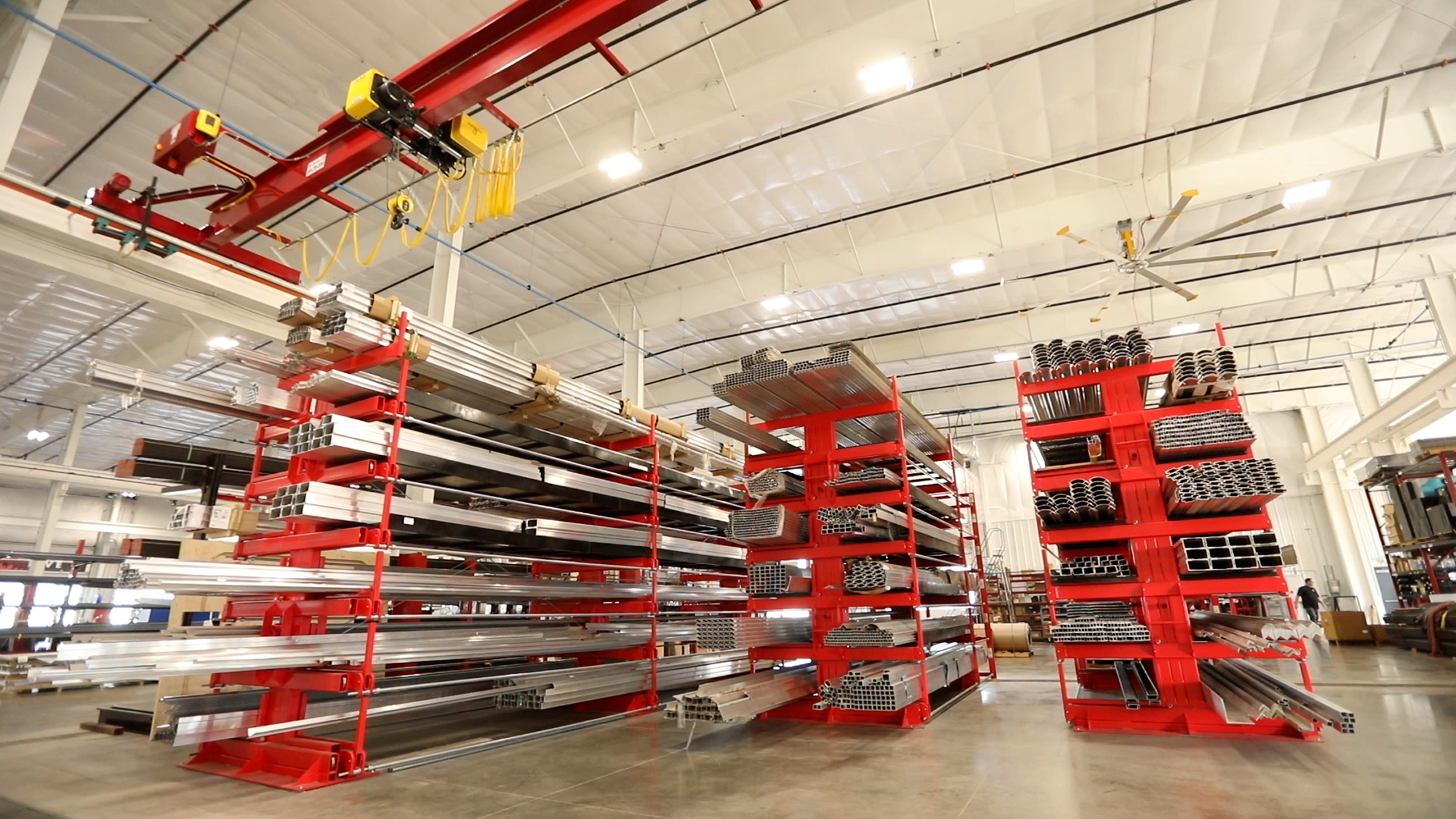 Backside of Red SpaceSaver roll-out cantilever racks