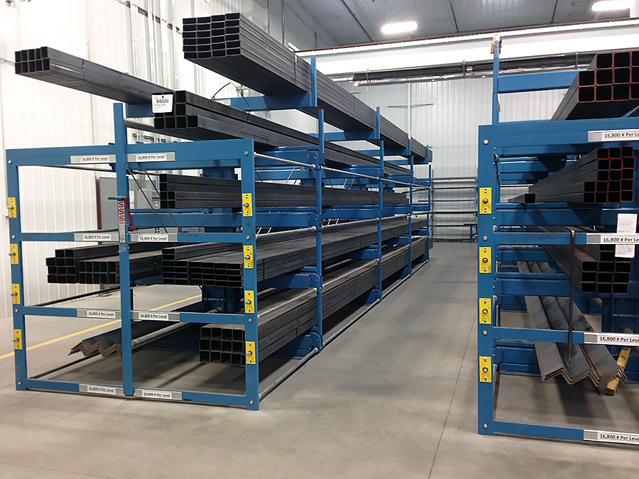 Custom SpaceSaver Roll-Out Rack for storing bundles of square tube and angle